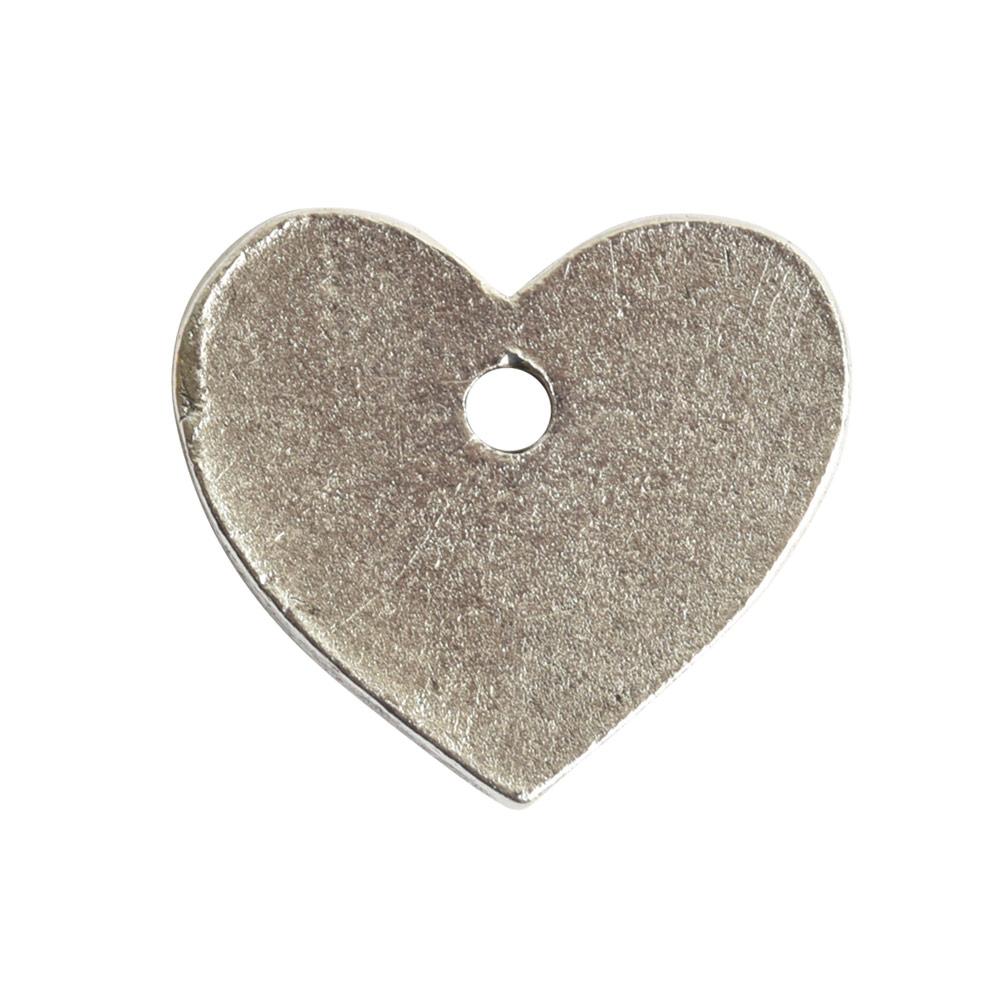 Flat Tag Mini Heart Single HoleAntique Silver