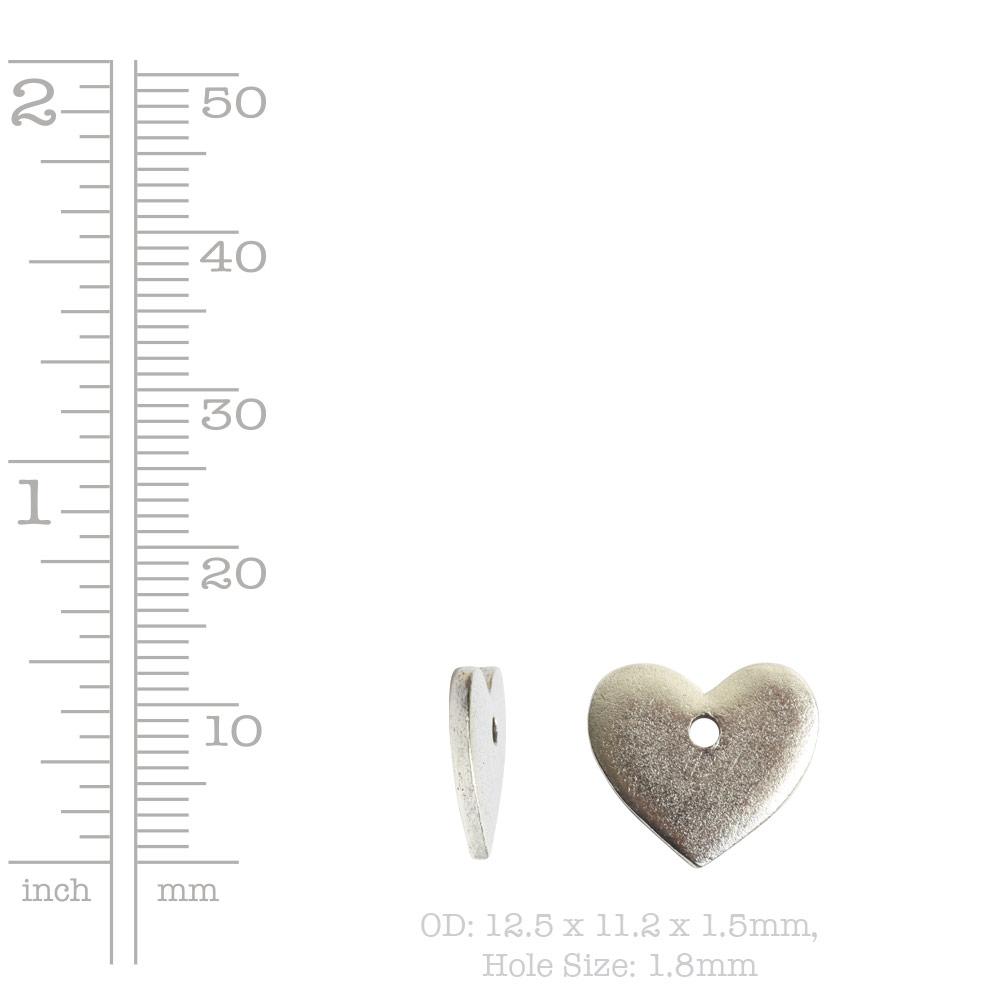 Flat Tag Mini Heart Single HoleAntique Gold