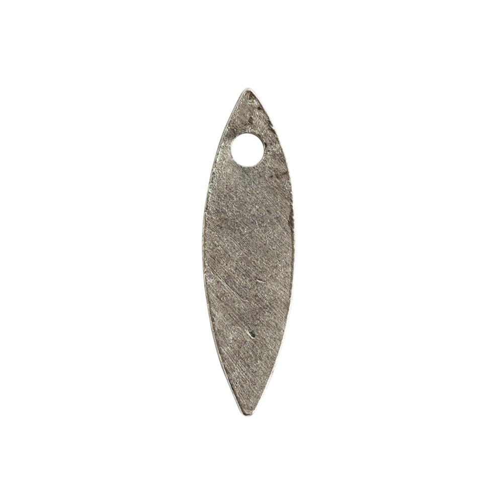 Flat Tag Mini Navette Single HoleAntique Silver