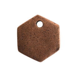 Flat Tag Mini Hexagon Single HoleAntique Copper