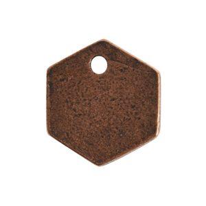 Flat Tag Mini Hexagon Single HoleAntique Copper