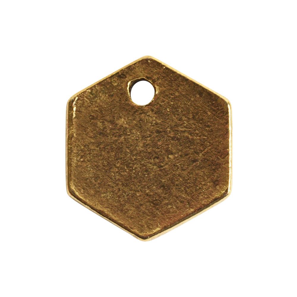 Flat Tag Mini Hexagon Single HoleAntique Gold