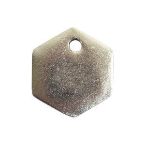 Flat Tag Mini Hexagon Single HoleAntique Silver