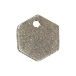 Flat Tag Mini Hexagon Single HoleAntique Silver