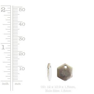Flat Tag Mini Hexagon Single Hole<br>Antique Gold