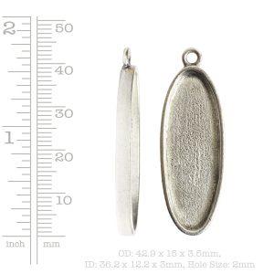 Grande Pendant Oval Narrow Single Loop<br>Antique Silver