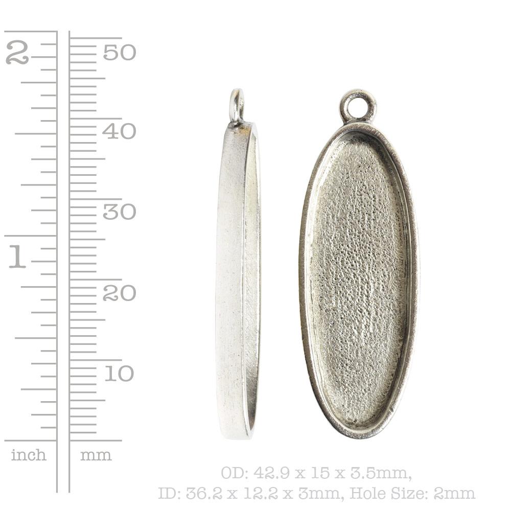 Grande Pendant Oval Narrow Single LoopAntique Silver