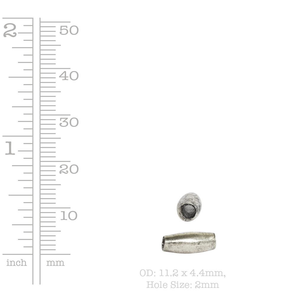 Metal Bead Double Cone 11x4mmAntique Silver