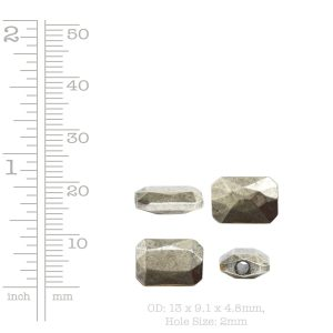 Metal Bead Faceted Rectangle 13x9mm<br>Antique Silver