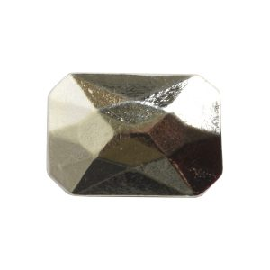 Metal Bead Faceted Rectangle 13x9mmSterling Silver Plate