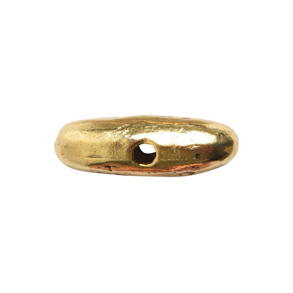 Metal Bead Organic Tube Horizontal 17mmAntique Gold