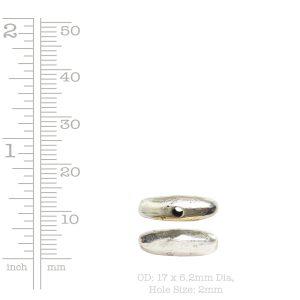 Metal Bead Organic Tube Horizontal 17mm<br>Antique Silver