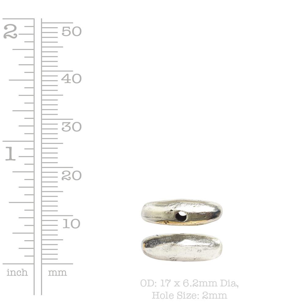 Metal Bead Organic Tube Horizontal 17mmAntique Silver