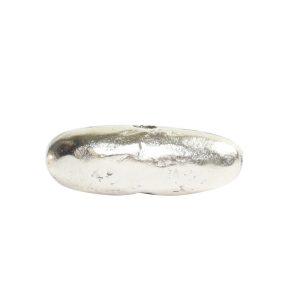 Metal Bead Organic Tube Horizontal 17mmSterling Silver Plate
