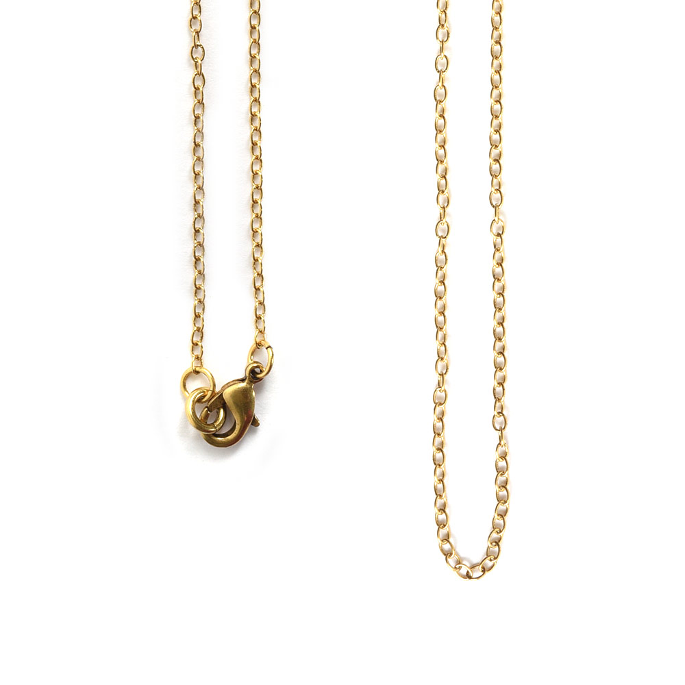 Necklace Delicate Link Cable Chain 18 InchAntique Gold