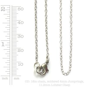 Necklace Delicate Link Cable Chain 18 Inch<br>Antique Silver