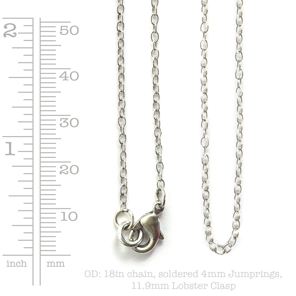 Necklace Delicate Link Cable Chain 18 InchAntique Silver