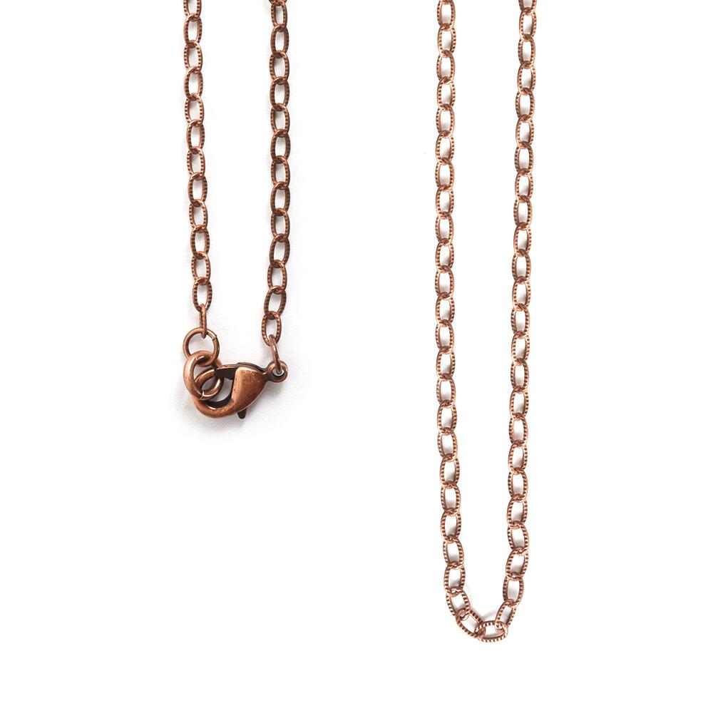 Necklace Fine Textured Cable Chain 18 InchAntique Copper