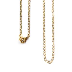 Necklace Fine Textured Cable Chain 18 Inch<br>Antique Gold