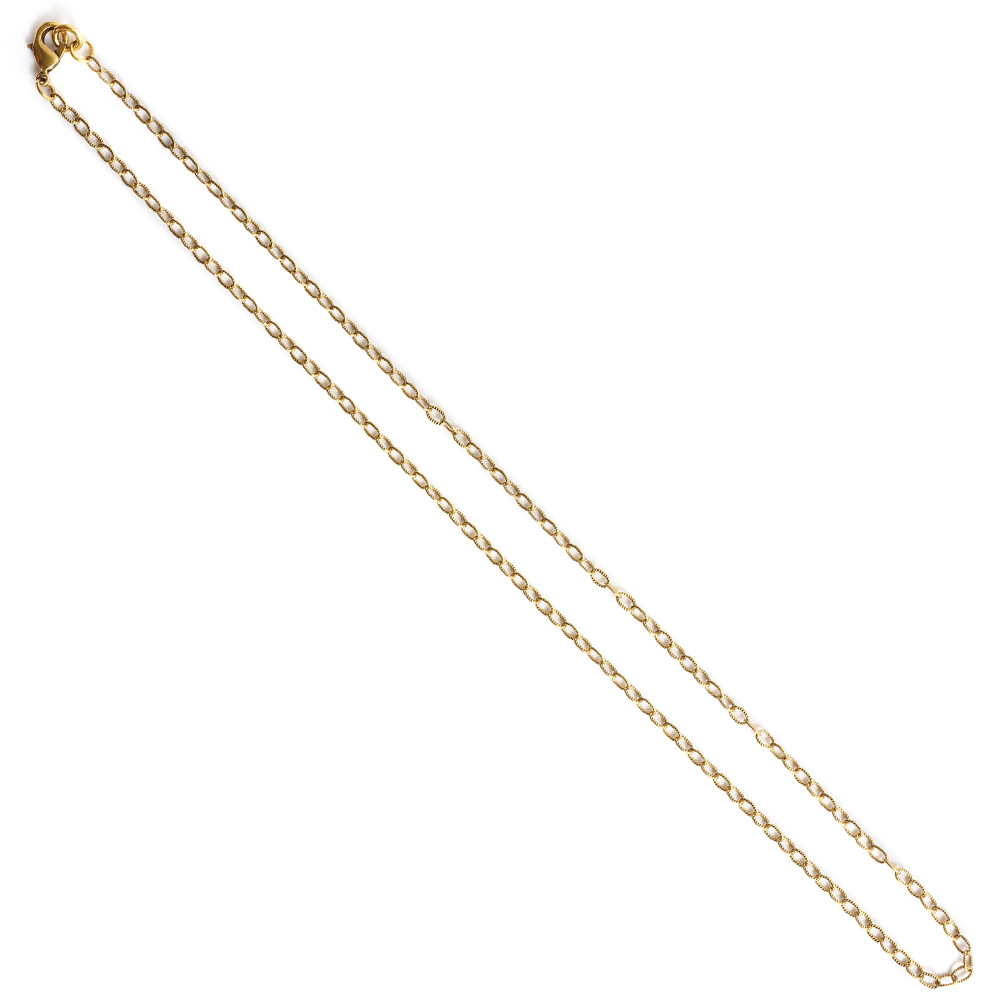 Necklace Fine Textured Cable Chain 18 InchAntique Gold