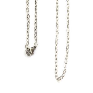 Necklace Fine Textured Cable Chain 18 InchAntique Silver