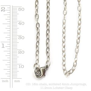 Necklace Fine Textured Cable Chain 18 Inch<br>Antique Silver