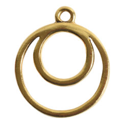 Open Pendant Split Large Cirlce Eclipse Single LoopAntique Gold