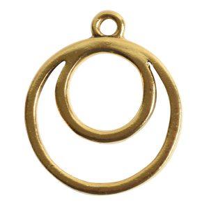 Open Pendant Split Large Cirlce Eclipse Single Loop<br>Antique Gold