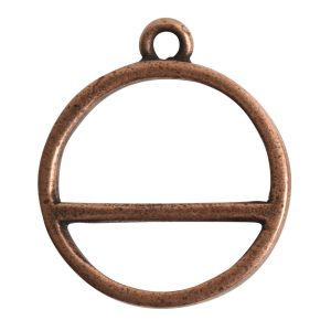 Open Pendant Split Large Cirlce Horizon Single LoopAntique Copper