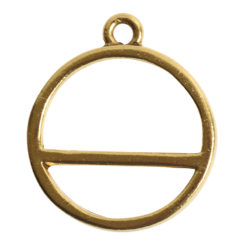 Open Pendant Split Large Cirlce Horizon Single LoopAntique Gold