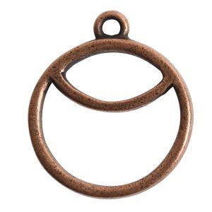 Open Pendant Split Large Cirlce Sunrise Single LoopAntique Copper