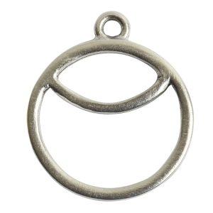 Open Pendant Split Large Cirlce Sunrise Single Loop<br>Antique Silver