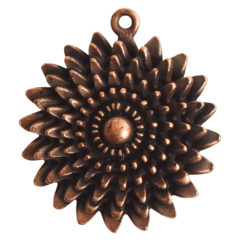 Pendant Charm Large Daisy Single LoopAntique Copper