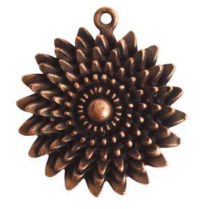 Pendant Charm Large Daisy Single LoopAntique Copper