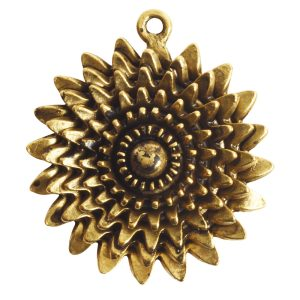 Pendant Charm Large Daisy Single LoopAntique Gold