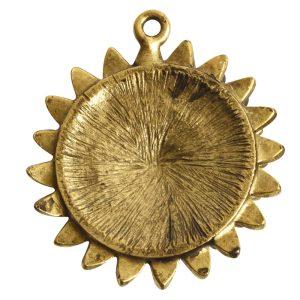 Pendant Charm Large Daisy Single LoopAntique Gold