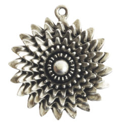 Pendant Charm Large Daisy Single LoopAntique Silver