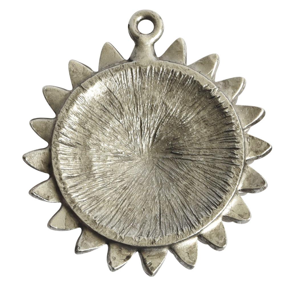 Pendant Charm Large Daisy Single LoopAntique Silver