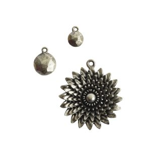 Buy & Try Findings Flat Back Faceted Charms Combo PackAntique Silver