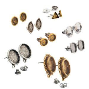 Post Bezel Earrings