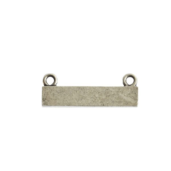 Itsy Link Double Loop Rectangle HorizontalAntique Silver