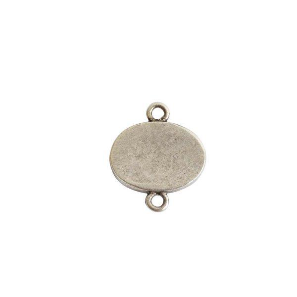 Mini Link Double Loop Oval HorizontalAntique Silver