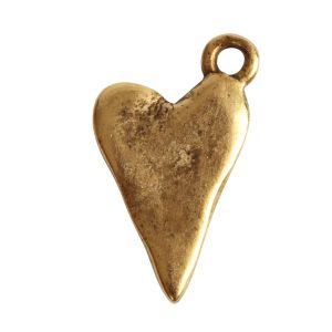 Charm Primitive Drop Heart<br>Antique Gold
