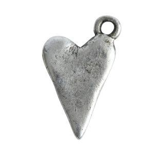 Charm Primitive Drop Heart<br>Antique Silver