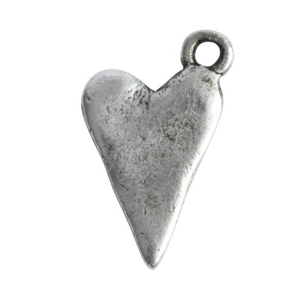 Charm Primitive Drop HeartAntique Silver