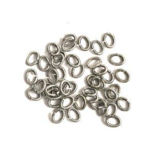 Jumpring 6mm Textured OvalAntique Silver