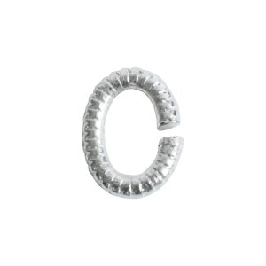 Jumpring 6mm Textured OvalSterling Silver Plate