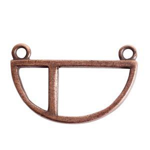 Open Pendant Split Large Half Circle Double LoopAntique Copper