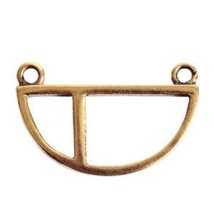 Open Pendant Split Large Half Circle Double LoopAntique Gold