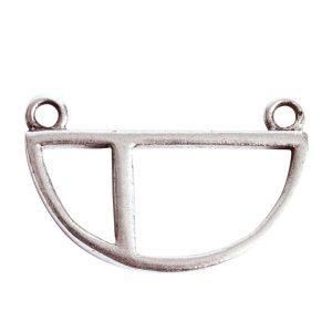 Open Pendant Split Large Half Circle Double Loop<br>Antique Silver